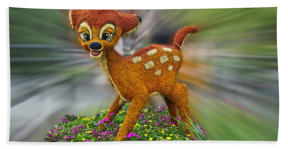 Fantasy Bath Sheet featuring the photograph Disney Floral Bambi by Thomas Woolworth