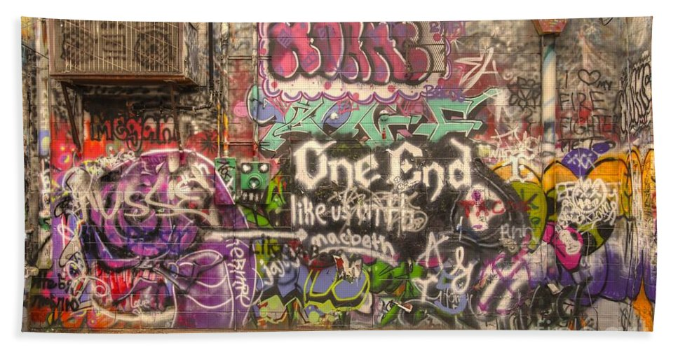 Graffiti Bath Sheet featuring the photograph Disorderly Conduct by Anthony Wilkening