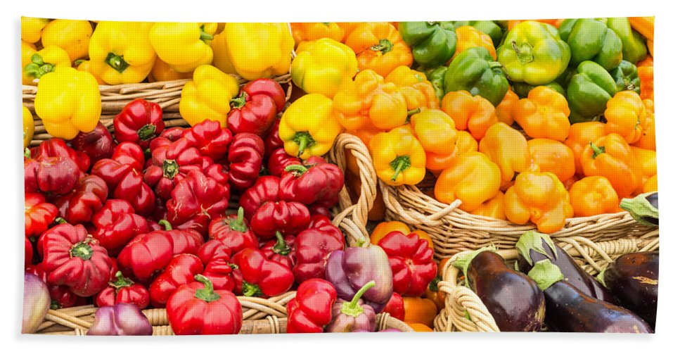 Agriculture Hand Towel featuring the photograph Display Of Fresh Vegetables At The Market by John Trax
