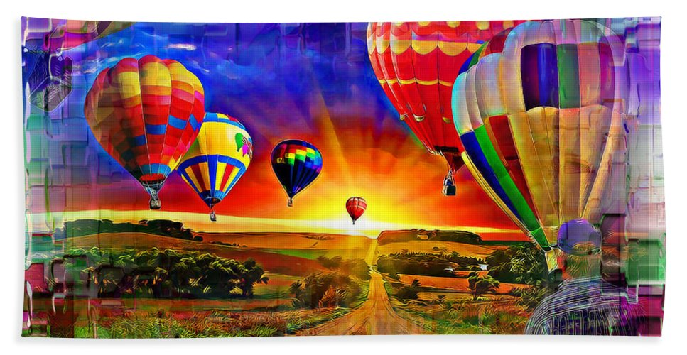 Hot Air Balloons Hand Towel featuring the digital art Distance by Robert Roland