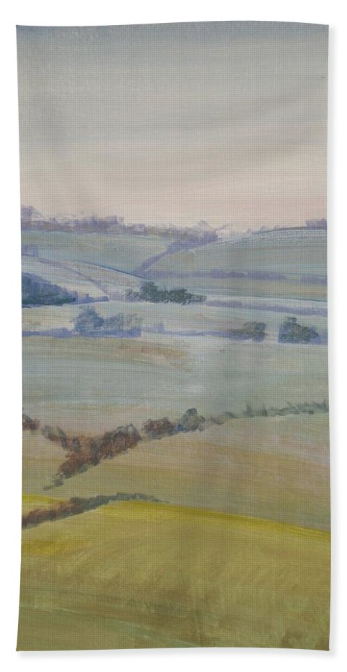 Landscape Bath Sheet featuring the painting Distant Hills Fields And Hedges Painting by Mike Jory