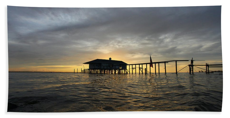 Outer Banks North Carolina Beach Ocean Fish Fishing Sea Sunset Sunrise Water Boat Boating Pier Boardwalk Bath Sheet featuring the photograph Distant by Jimmy Taaffe