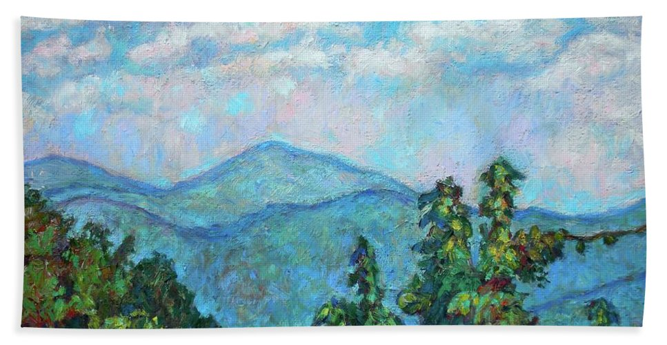 Kendall Kessler Bath Sheet featuring the painting Distant View Of Peaks Of Otter by Kendall Kessler