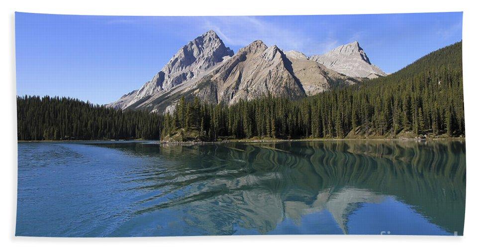 Maligne Lake Bath Sheet featuring the photograph Distorted by Teresa Zieba