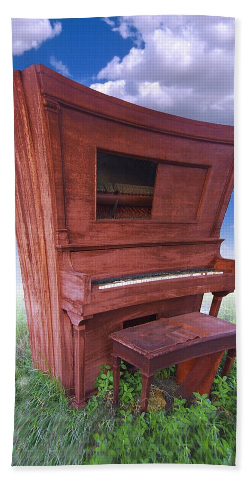 Distorted Upright Piano Hand Towel featuring the photograph Distorted Upright Piano by Mike McGlothlen