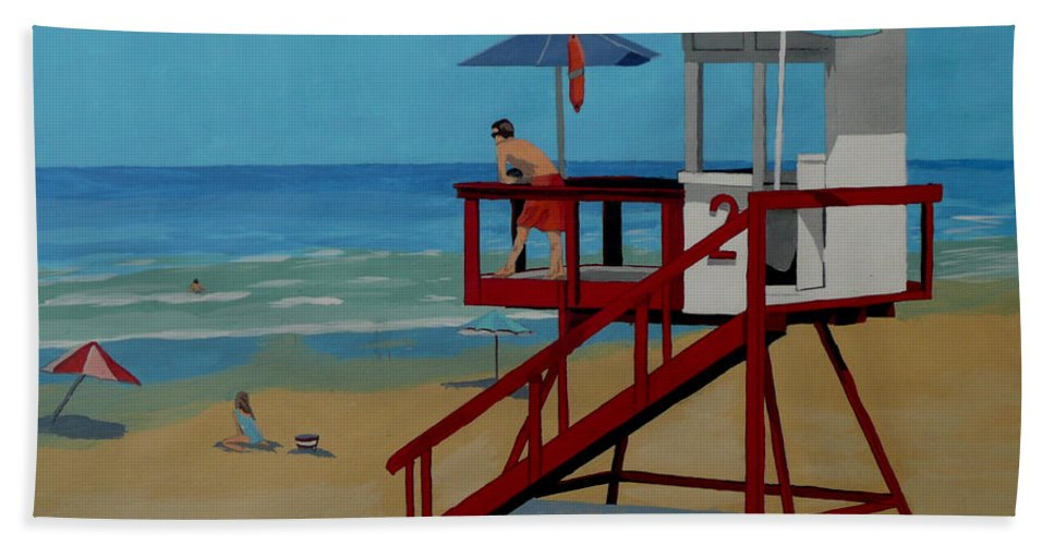 Lifeguard Bath Sheet featuring the painting Distracted Lifeguard by Anthony Dunphy