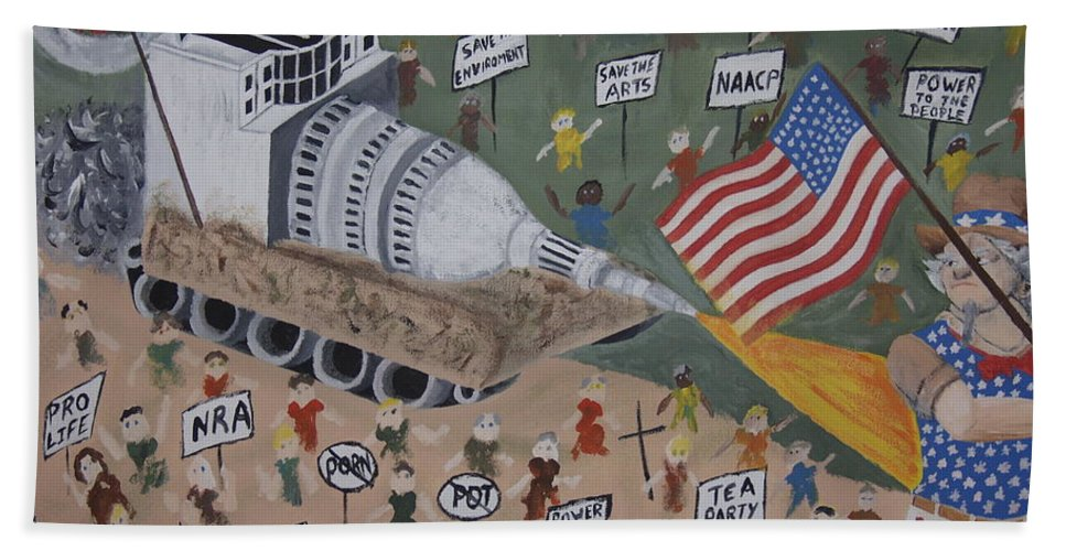 Political Satire Hand Towel featuring the painting Divided We Stand by Dean Stephens