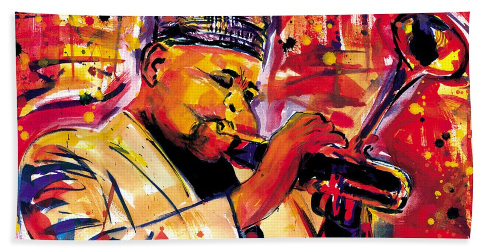 Dizzy Gillespie Hand Towel featuring the painting Dizzy Gillespie by Everett Spruill