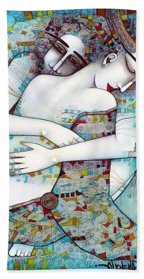 Love Hand Towel featuring the painting Do Not Leave Me by Albena Vatcheva