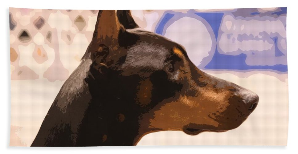 Dog Hand Towel featuring the photograph Doberman by Donna G Smith