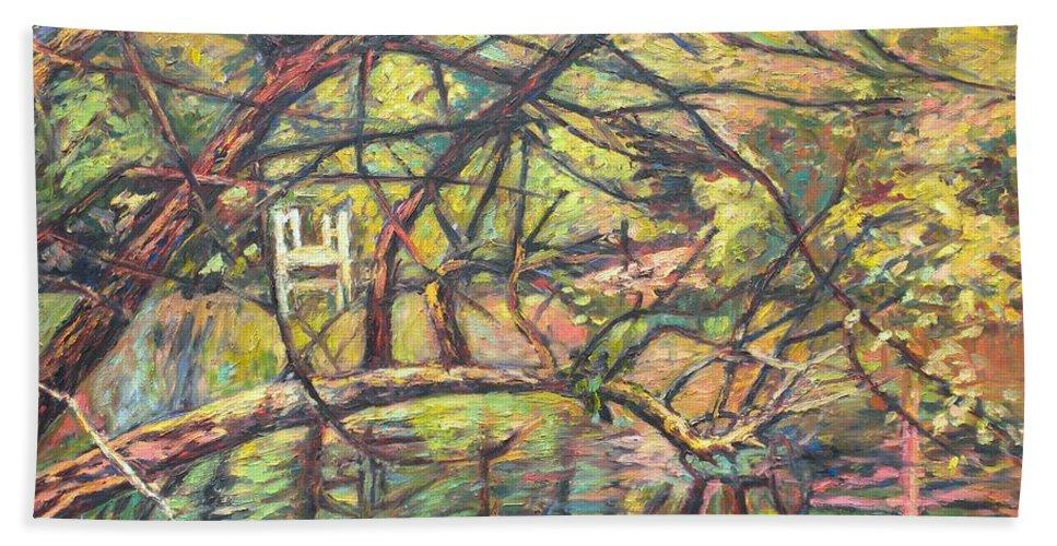 Landscape Bath Sheet featuring the painting Dock At Pandapas by Kendall Kessler