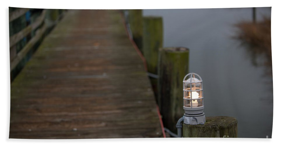 Dock Hand Towel featuring the photograph Dock Light by Dale Powell