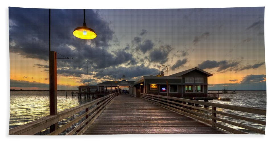 Boats Bath Towel featuring the photograph Dock Lights At Jekyll Island by Debra and Dave Vanderlaan