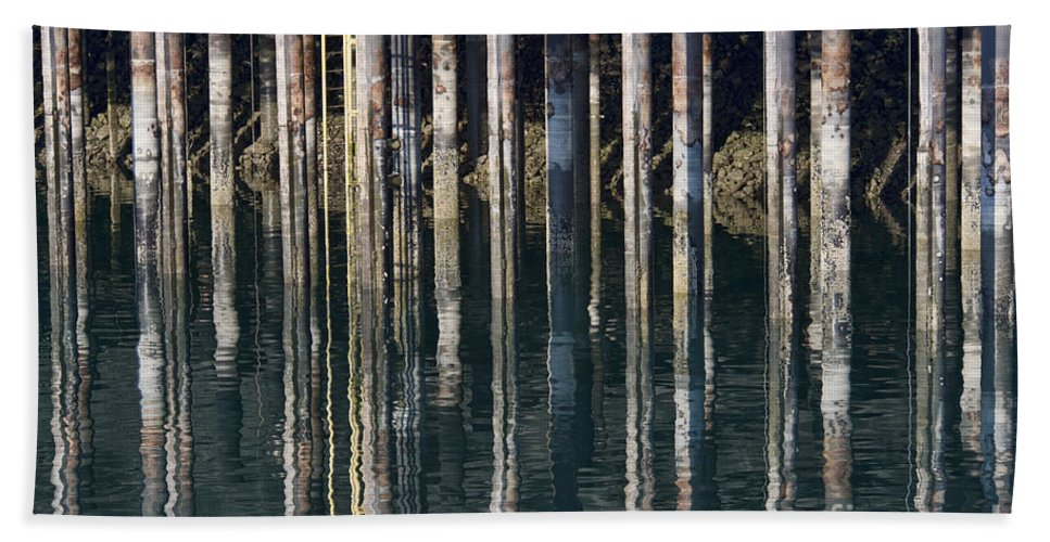 Dock Pilings Bath Sheet featuring the photograph Dock Pilings by David Arment