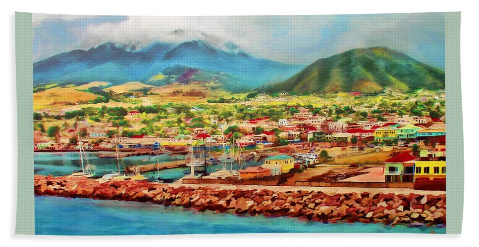 St.kitts Bath Sheet featuring the mixed media Docked In St. Kitts by Deborah Boyd