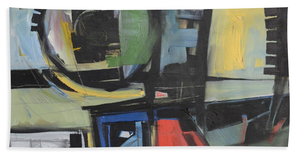 Abstract Hand Towel featuring the painting Dockside by Tim Nyberg