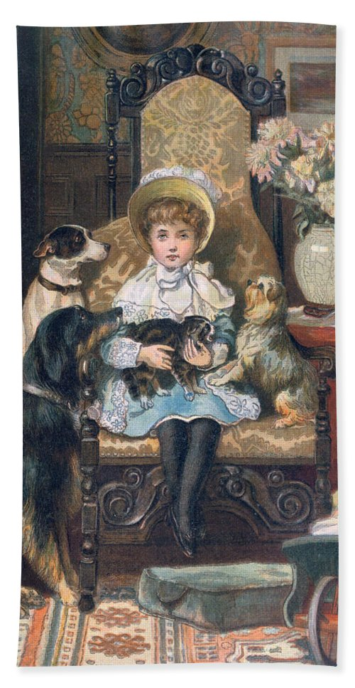Cute Bath Sheet featuring the painting Doddy And Her Pets by Charles Trevor Grand