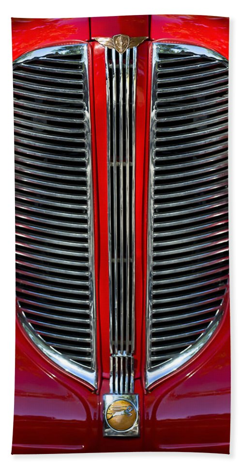 Dodge Brothers Hand Towel featuring the photograph Dodge Brothers Grille by Jill Reger