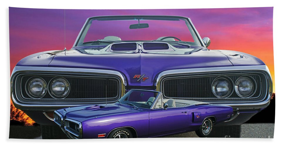 Cars Hand Towel featuring the photograph Dodge Rt Double Exposure Purple Sunset by Randy Harris