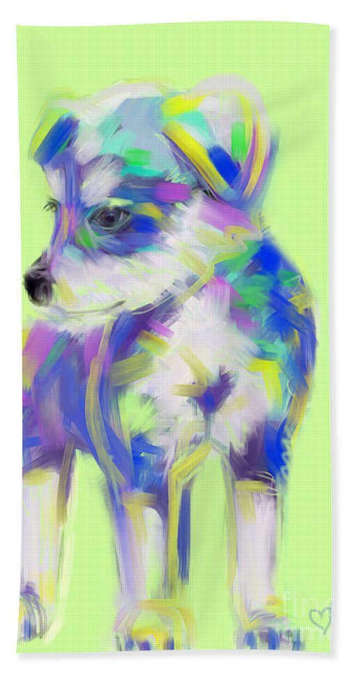 Dog Bath Sheet featuring the painting Dog Cute Puppy by Go Van Kampen