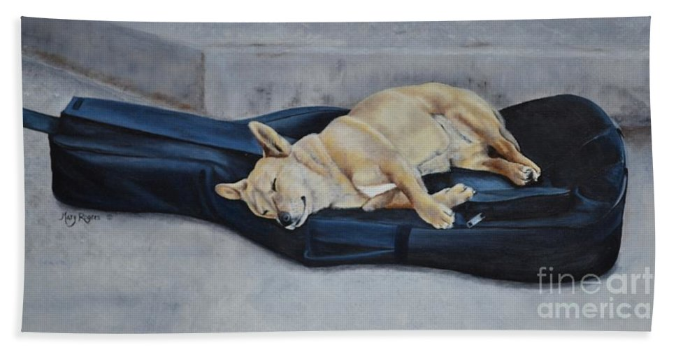 Animal Bath Sheet featuring the painting Dog Day Afternoon by Mary Rogers