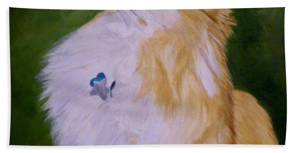 Dog Pomeranian Hand Towel featuring the painting Dog Kuki by Graciela Castro