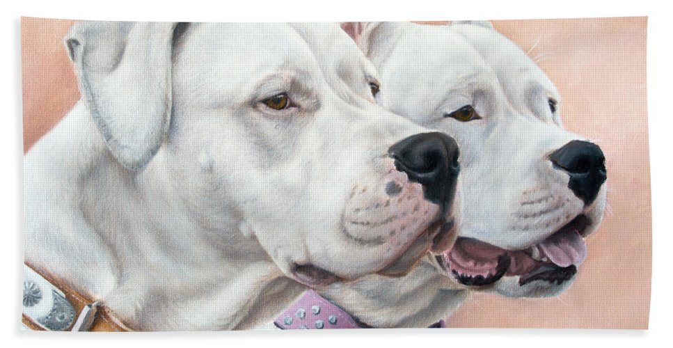 Dogo Argentino Hand Towel featuring the painting Dogo Argentino by Tobiasz Stefaniak