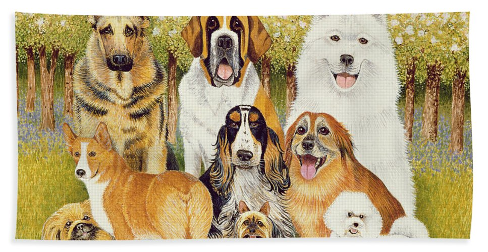 Dog Bath Towel featuring the painting Dogs In May by Pat Scott