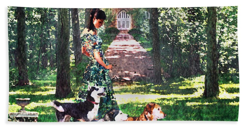 Landscape Bath Sheet featuring the photograph Dogs Lay At Her Feet by Steve Karol