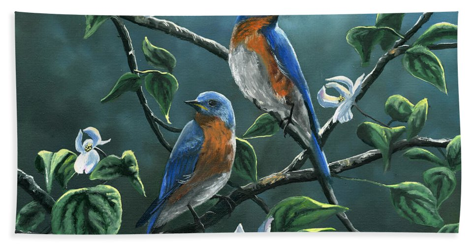 Bluebird Hand Towel featuring the painting Dogwood Blues by Christopher Lyter