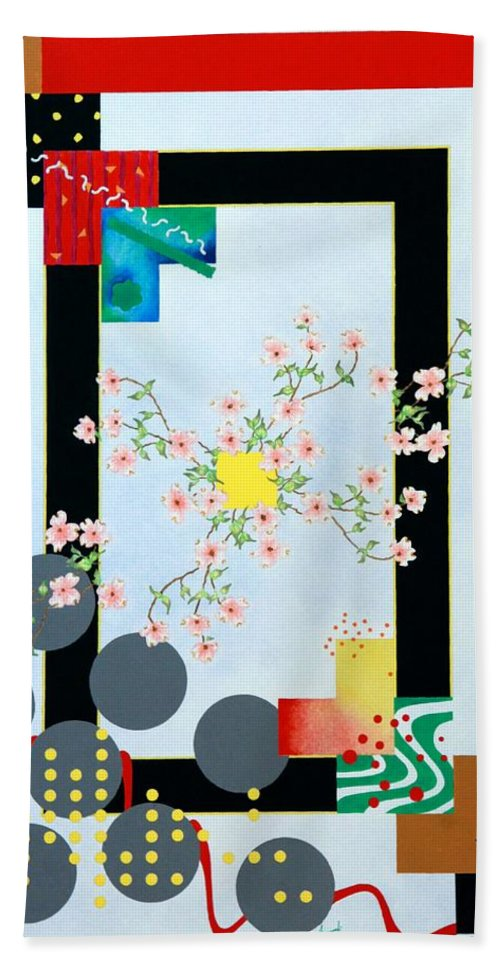 Asian Bath Sheet featuring the painting Dogwood by Thomas Gronowski