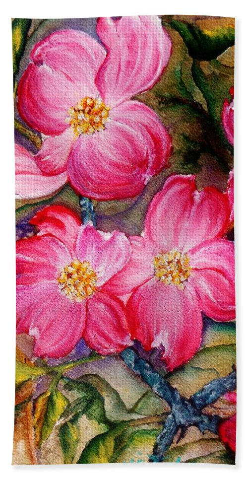 Pink Flowers Hand Towel featuring the painting Dogwoods In Pink by Lil Taylor