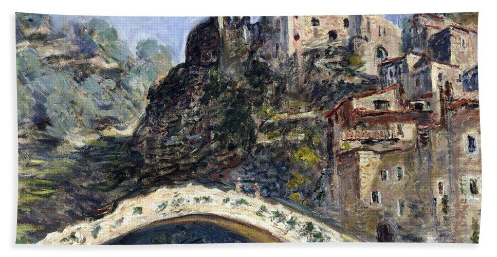 Monet Bath Towel featuring the painting Dolceacqua by Claude Monet