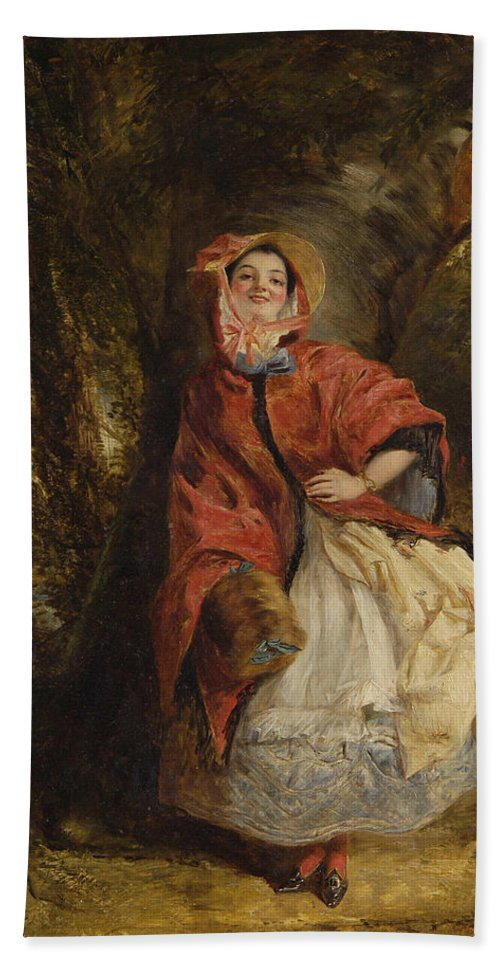 William Powell Frith Hand Towel featuring the digital art Dolly Vardon by William Powell Frith