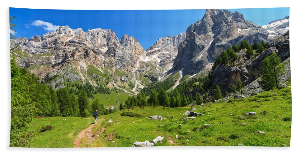Landscape Hand Towel featuring the photograph Dolomiti - Contrin Valley by Antonio Scarpi