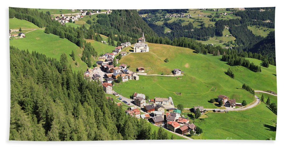 Laste Hand Towel featuring the photograph Dolomiti - Laste Village by Antonio Scarpi