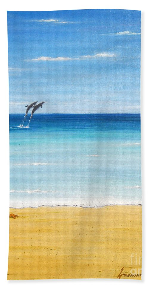 Dolphins Hand Towel featuring the painting Dolphin Beach by Jerome Stumphauzer