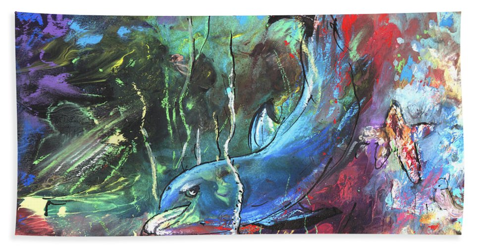 Fantasy Hand Towel featuring the painting Dolphin Dives by Miki De Goodaboom