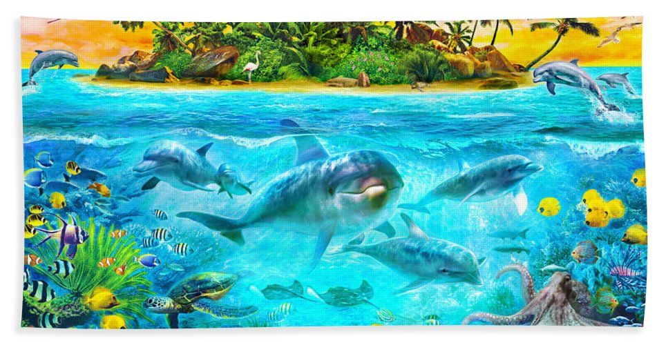 Animals Bath Towel featuring the digital art Dolphin Paradise Island by MGL Meiklejohn Graphics Licensing