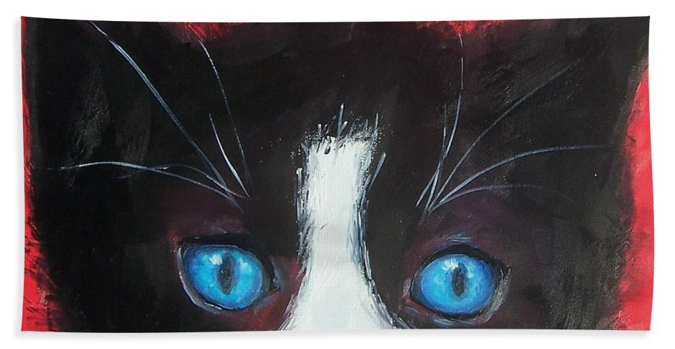 Cat Hand Towel featuring the painting Domino by Jan Matson