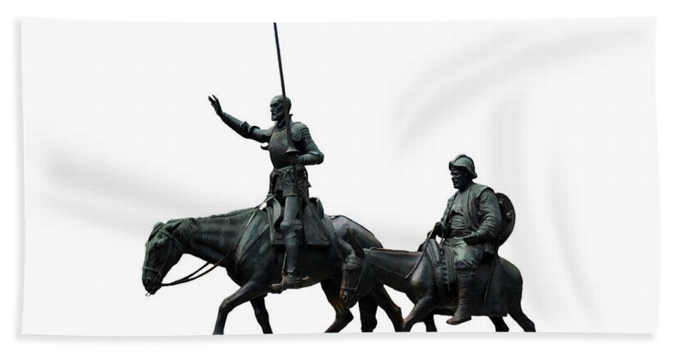 White Background Bath Sheet featuring the photograph Don Quixote And Sancho Panza by Fabrizio Troiani