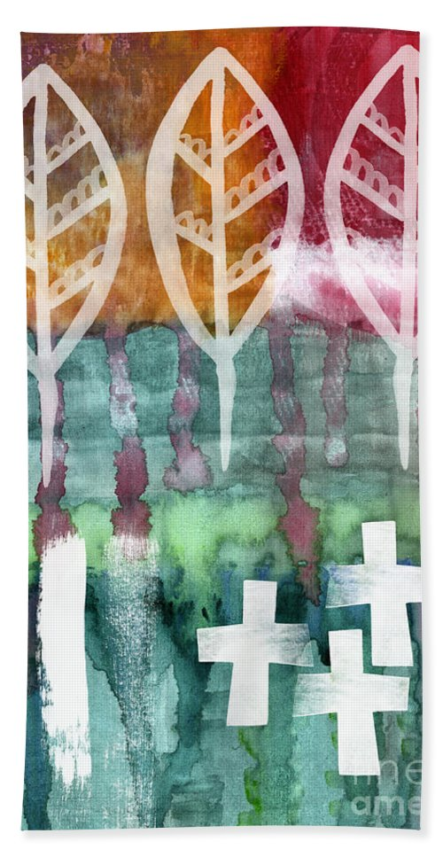 Abstract Painting Hand Towel featuring the painting Done Too Soon by Linda Woods