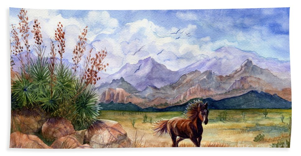 Mustang Bath Sheet featuring the painting Don't Fence Me In by Marilyn Smith