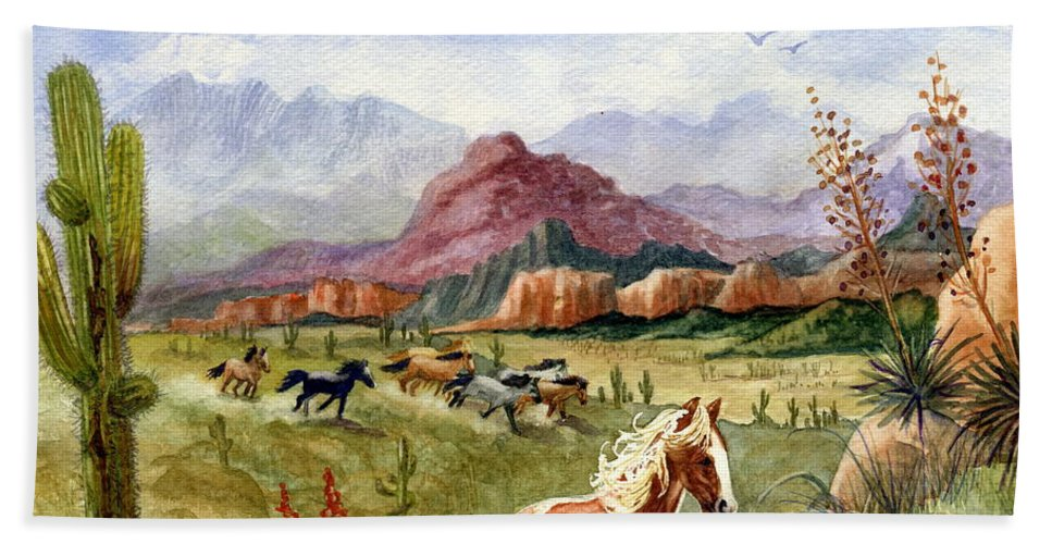 Mustang Hand Towel featuring the painting Don't Fence Me In Part One by Marilyn Smith
