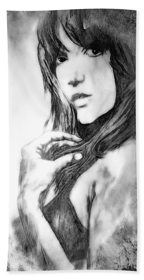 Woman Hand Towel featuring the drawing Don't Lie To Me by Joachim G Pinkawa