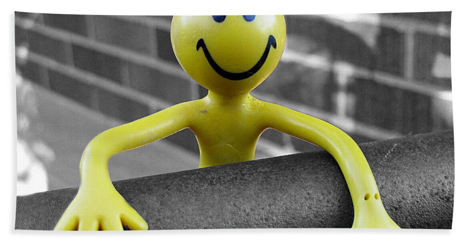 Happiness Bath Sheet featuring the photograph Don't Worry Be Happy by Nina Silver