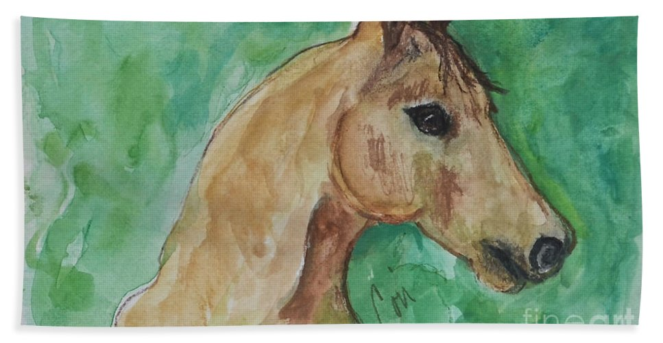 Horse Bath Sheet featuring the painting Doodling Around by Cori Solomon
