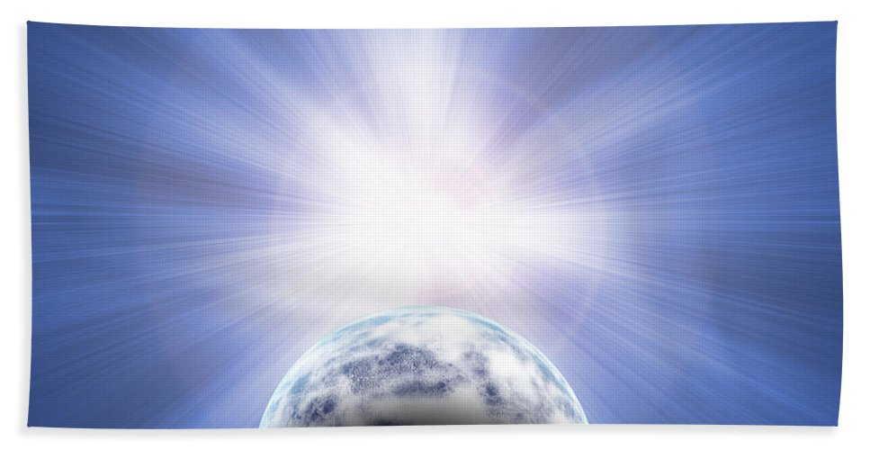 Planet Bath Sheet featuring the digital art Doomed Planet 01 by Antony McAulay