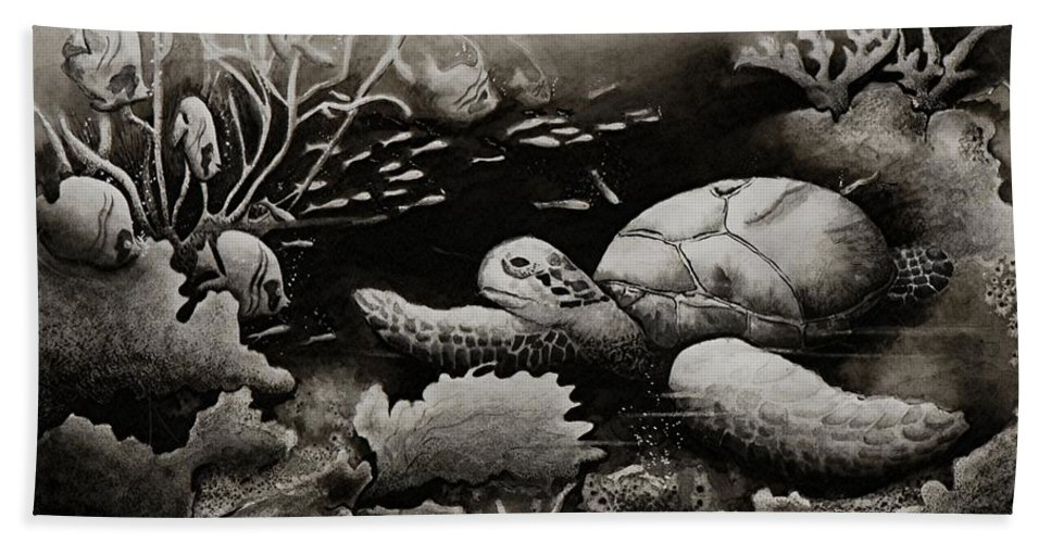 Sea Turtle Hand Towel featuring the painting Doomed Sea Life by Joy Bradley