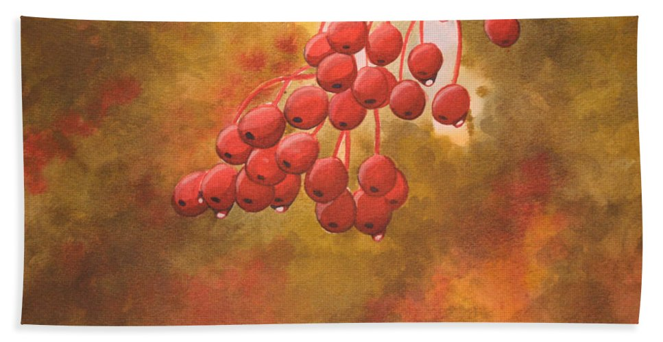 Rick Huotari Bath Sheet featuring the painting Door County Cherries by Rick Huotari